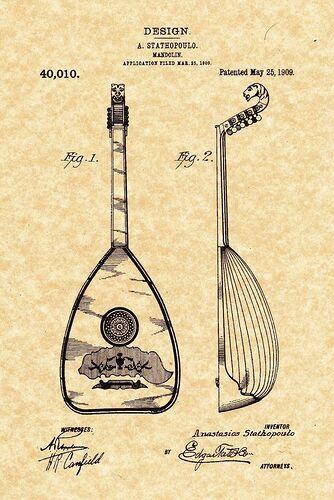 Patent Print - Epiphone Mandolin_Greek Lauoto. A. Stathopoulo 1909
