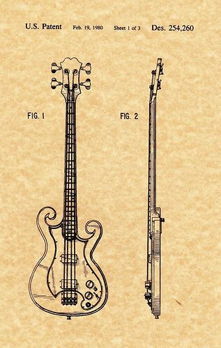 Patent Print - Epiphone Scroll Bass - Music Art. Ready To Be Framed!