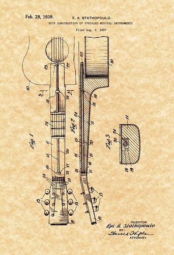 Patent Print - Epiphone  Archtop  Guitar Stathopoulo 1939. Ready To Be Framed!